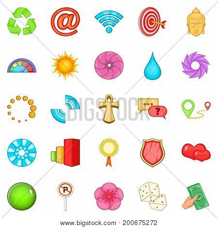 Signpost icons set. Cartoon set of 25 signpost vector icons for web isolated on white background