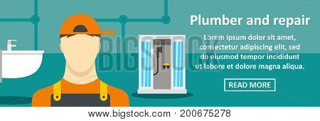 Plumber and repair banner horizontal concept. Flat illustration of plumber and repair banner horizontal vector concept for web