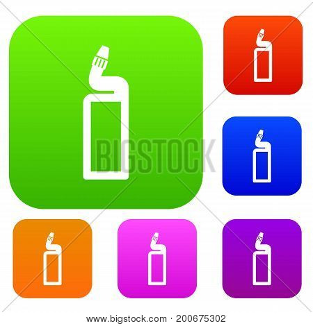 Plastic bottle of drain cleaner set icon in different colors isolated vector illustration. Premium collection