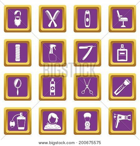 Hairdressing icons set in purple color isolated vector illustration for web and any design