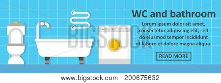 Wc and bathroom banner horizontal concept. Flat illustration of wc and bathroom banner horizontal vector concept for web