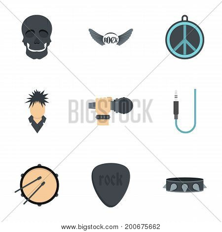 Rock festival icon set. Flat set of 9 rock festival vector icons for web isolated on white background