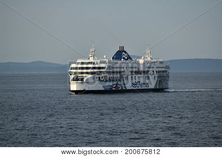 TSAWASSEN, BC, CANADA. AUGUST 14, 2017. The Coastal Inspiration arrives at Tsawassen Ferry Terminal. The Coastal `C` Class ferry is the largest double ended ferry in the world carrying 1650 passengers.