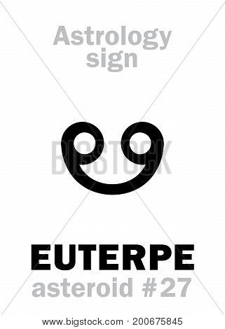 Astrology Alphabet: EUTERPE (muse of lyric poetry), asteroid #27. Hieroglyphics character sign (single symbol).