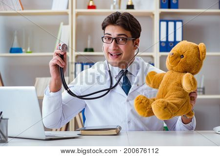 Doctor veterinary pediatrician holding an examination in the off
