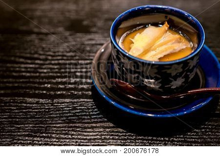 Japanese Steamed egg with butter grilled abalone