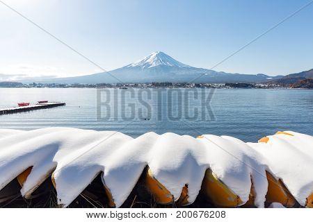 Mt. Fuji mountain with snow ladscape