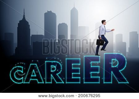 Businessman in career progress concept