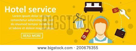 Hotel service banner horizontal concept. Flat illustration of hotel service banner horizontal vector concept for web