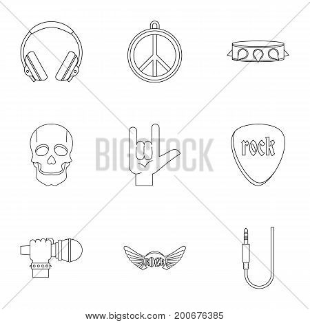 Rock musician icon set. Outline set of 9 rock musician vector icons for web isolated on white background