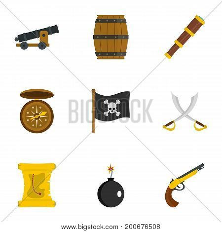 Pirates armor icon set. Flat set of 9 pirates armor vector icons for web isolated on white background
