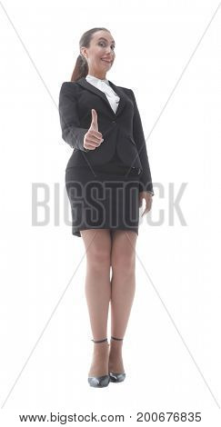 elegant business woman showing thumb up