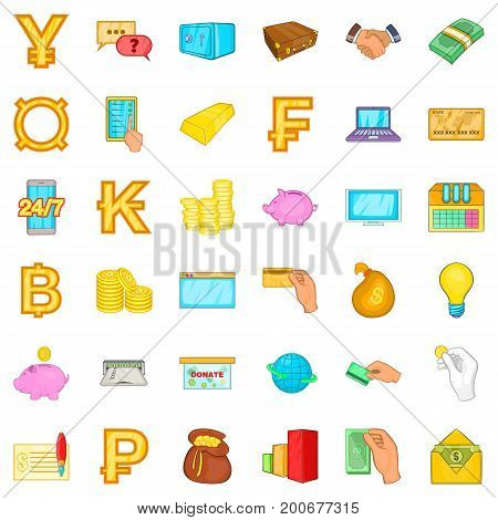 Card cash icons set. Cartoon style of 36 card cash vector icons for web isolated on white background