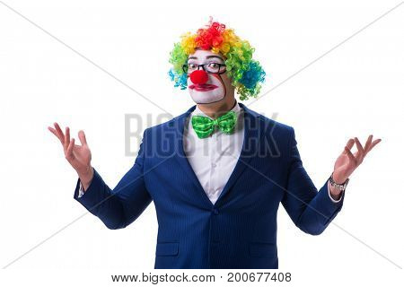 Funny businessman clown isolated on white background