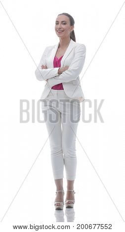 confident business woman looking ahead