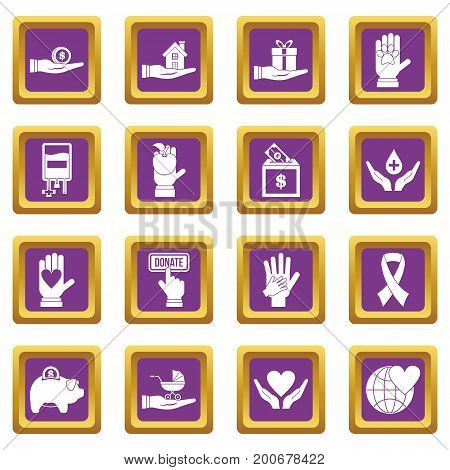 Charity icons set in purple color isolated vector illustration for web and any design