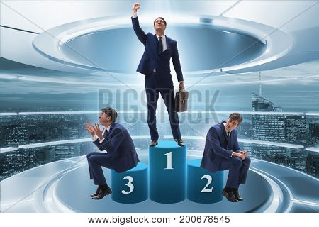 Businessman winning the first place in competition concept