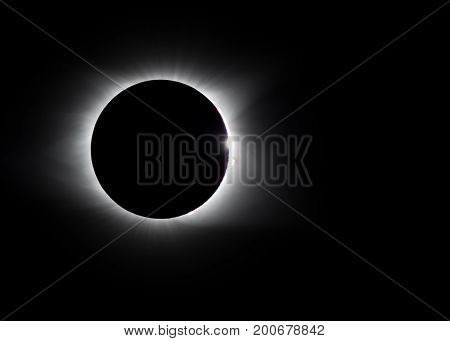 Solar flare and diamond ring around 2017 total eclipse