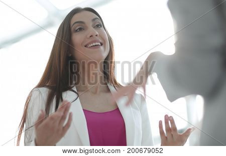 successful business woman talking with a client