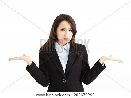 stress business woman raising her hands on both sides