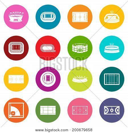 Sport stadium icons many colors set isolated on white for digital marketing