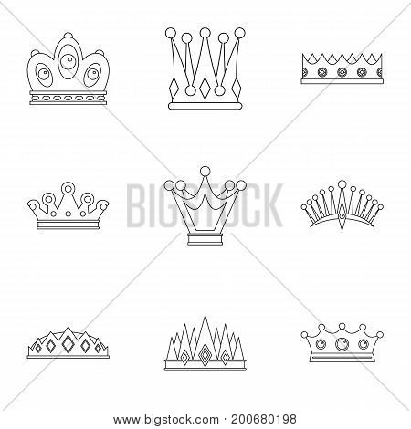 King crown icon set. Outline set of 9 king crown vector icons for web isolated on white background