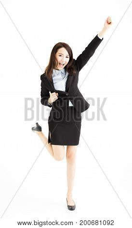 young asian business woman Celebrating and dancing