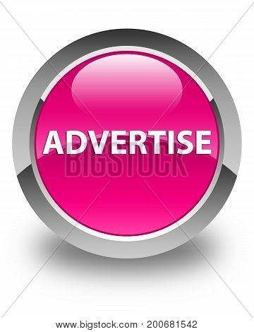 Advertise Glossy Pink Round Button