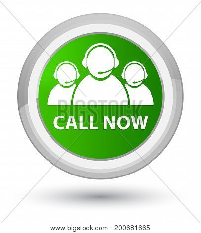 Call Now (customer Care Team Icon) Prime Green Round Button