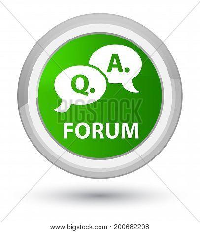 Forum (question Answer Bubble Icon) Prime Green Round Button