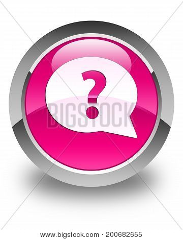 Question Mark Bubble Icon Glossy Pink Round Button