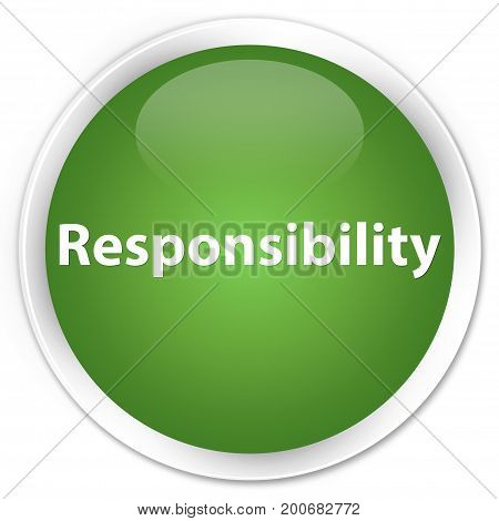 Responsibility Premium Soft Green Round Button