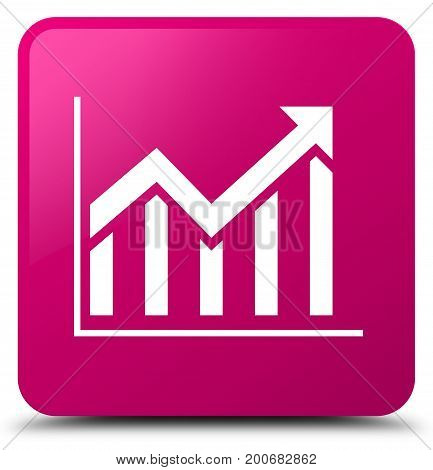 Statistics Icon Pink Square Button