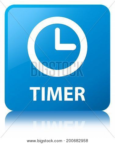 Timer Cyan Blue Square Button
