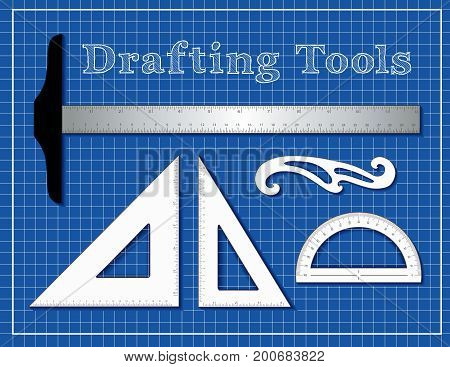 Drafting Tools for Architecture, Engineers, Science and Math.  T square, 45 degree triangle, 60 degree triangle, French Curve, protractor, blueprint background.