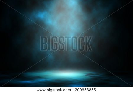 Abstract blue light smoke spotlight stage background.