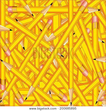 Pencils Background, sharp yellow pencils with erasers for announcements, posters, stationery, scrapbooks and fliers for back to school, home and office.