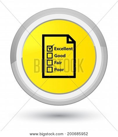 Questionnaire Icon Prime Yellow Round Button