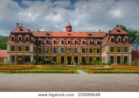 Classic Chateau Rajec nad Svitavou. A French-style classicist chateau built according to the plans of the French architect Isidor Amand Canavel. South Moravia, Czech Republic.