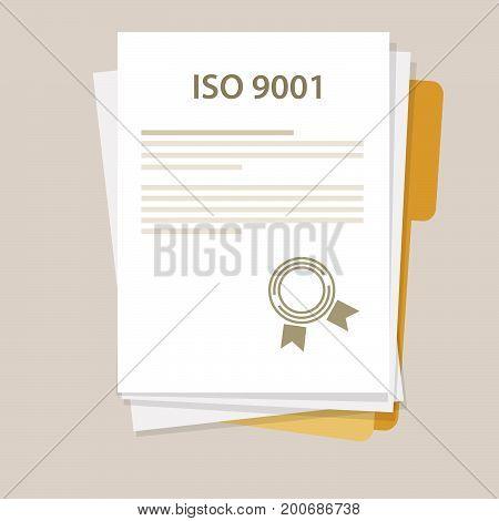ISO 9001 International standard organization on quality management system certification vector