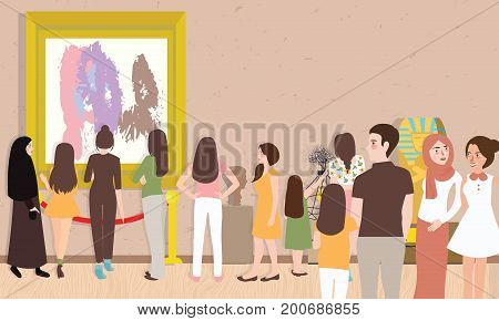 art gallery exhibition busy many people man woman children visitor looking for painting contemporary artist collection hanging on wall and sculpture vector