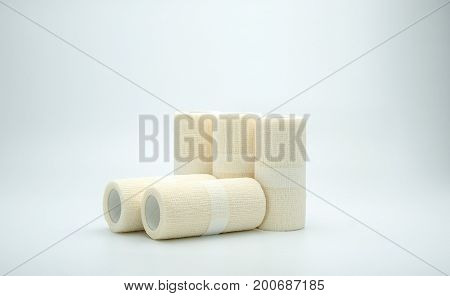 Medical cohesive elastic bandage isolated on white background with copy space