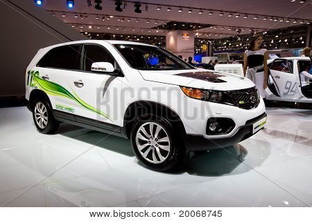 Moscow, Russia - August 25:  White Electric Car Kia Sorento At Moscow International Exhibition Inter
