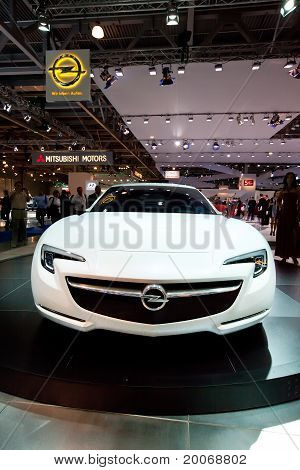 Moscow, Russia - August 25:  White Sport Car Opel Concept At Moscow International Exhibition Interau