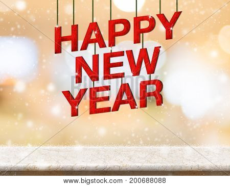 Happy new year red wood text new year on marble table top with blur abstract bokeh backgroundHoliday greeting card 3d reddering