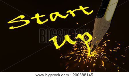 Pencil writing the yellow glowing word startup creating sparks new business concept 3D illustration