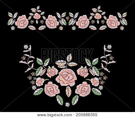 Embroidery tribal pattern with simplified roses. Vector embroidered floral patches with flowers for clothing design.