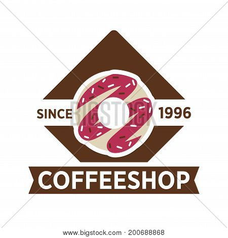 Coffee shop since 1996 emblem with sweet donut with pink cream and sprinkles isolated vector illustration on white background. Cafe with hot tasty drinks and sweet treats promotional logotype.