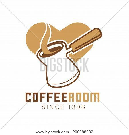 Coffee room or cafe logo template of coffee maker with steam and cappuccino heart. Vector isolated icon for cafeteria, coffeeshop or coffeehouse sign design