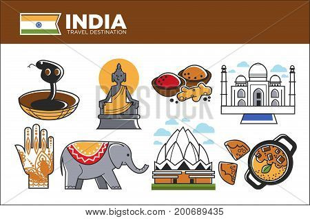 India travel destination promotional poster. Cobra in wicker basket, Buddha statue, spices in bowl, national architecture, traditional patterns, Indian elephant and tasty dish vector illustrations.